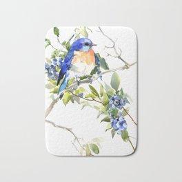 Bluebird and Blueberry Bath Mat