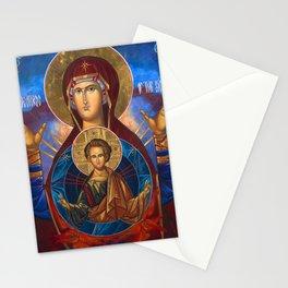Madonna and Child Icon Virgin Mary Byzantine Orthodox Art work Stationery Cards
