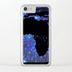 World Map : Blue Galaxy Stars Clear iPhone Case