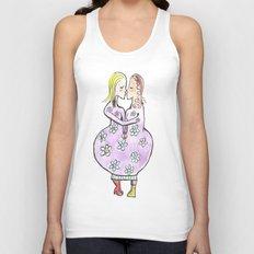 Kissing women in a flower dress Unisex Tank Top