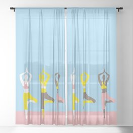 Simple silhouettes of women doing yoga Sheer Curtain