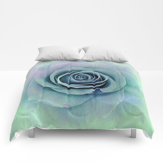 Tender Love Blue -Lavender Rose Abstract Comforters