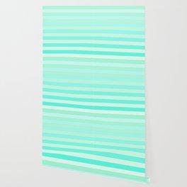 Green Teal Stripe Fade Wallpaper