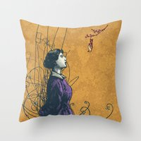 stucky Throw Pillows featuring It's the sound you hear right before you die or fall in love by Shawn Stucky