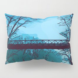 Blue Winter Bridge Pillow Sham