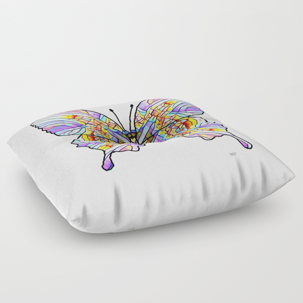 Mosaic Butterfly 1 Square Floor Pillow by Aquamanofpdx FPL8103656
