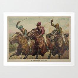 Vintage Finish Line Horse Jockeys Illustration (1891) Art Print