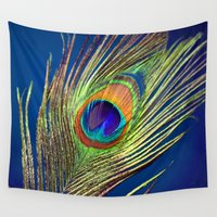 peacock feather Wall Tapestries featuring peacock feather by mark ashkenazi