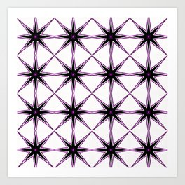 Bright Purple Star and White Pattern Art Print