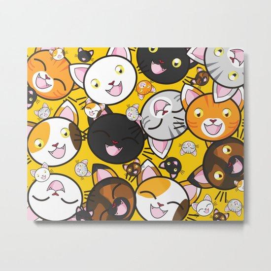 Smiley Cat Face Pattern - Cat Lovers Metal Print