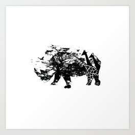 Fierce (Rhino) - Silhouette Wilderness Series Art Print