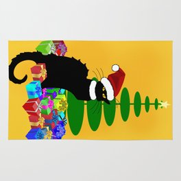 Christmas Le Chat Noir With Santa Hat Rug