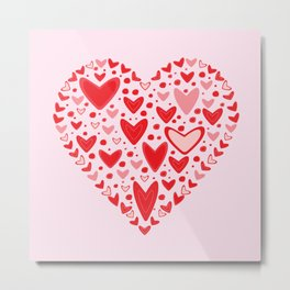 Love concept of hearts in the shape of a heart Metal Print