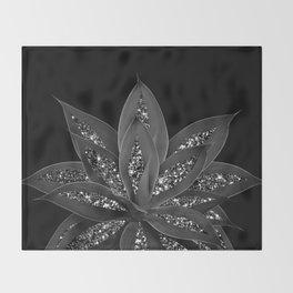 Gray Black Agave with Black Silver Glitter #2 #shiny #tropical #decor #art #society6 Throw Blanket