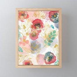 Golden flowers Framed Mini Art Print
