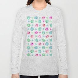 Blush pink teal modern trendy summer cactus floral Long Sleeve T-shirt