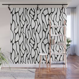 Geometrical abstract black white animal print pattern Wall Mural