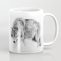 wolf Mugs featuring Wolf by Anna Shell