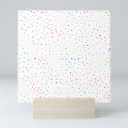 Elegant Iridescent Confetti Dots White Design Mini Art Print