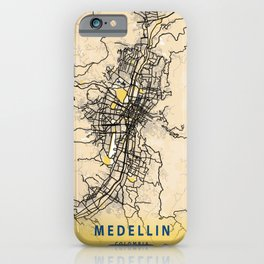 Medellin Yellow City Map iPhone Case