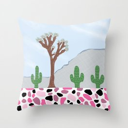 Desert Joshua Tree Cactus Landscape Terrazzo Throw Pillow
