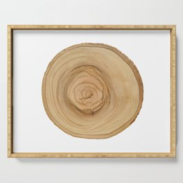 Realistic photo of detailed cut tree slice with rings and organic texture Serving Tray