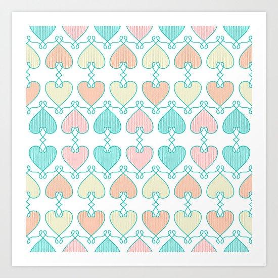 Hearts on the line Art Print