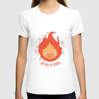 calcifer T-shirts featuring She Likes My Spark! by princefox