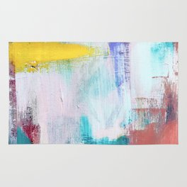 Colfax: an interesting, vibrant, abstract mixed media piece in a variety of colors Rug