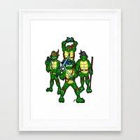 teenage mutant ninja turtles Framed Art Prints featuring Teenage Mutant Ninja Turtles by beetoons