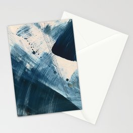 Against the Current [2]: A bold, minimal abstract acrylic piece in blue, white and gold Stationery Cards