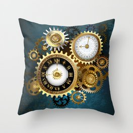 Two Steampunk Clocks with Gears Throw Pillow