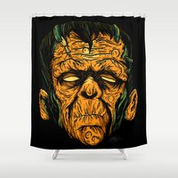 frankenstein Shower Curtains featuring frankenstein  by of the dead designs