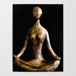 Gold and Silver Yoga Body Form in Lotus Position Poster