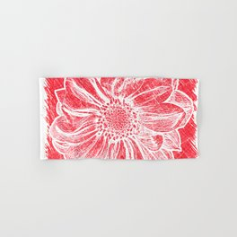 White Flower On Crayon Red Hand & Bath Towel