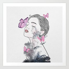 A touch of butterflies. Art Print