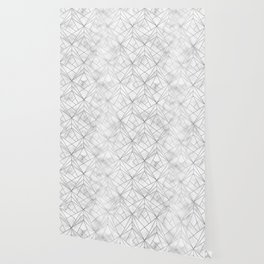 Geometric Silver Pattern on Marble Texture Wallpaper