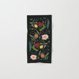 Botanical and Black Cats Hand & Bath Towel
