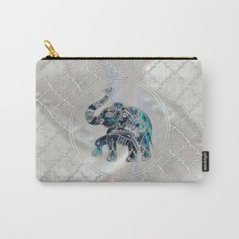 Silver Framed Elephant on Abalone and Pearl Carry-All Pouch