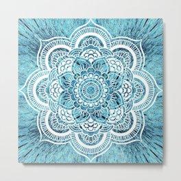 Aqua Turquoise Mandala Metal Print