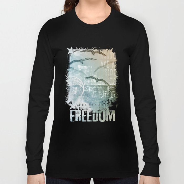 Free Like A Bird Seagull Mixed Media Art Long Sleeve T-shirt