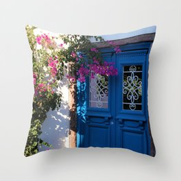 Greek Santorini Doors Throw Pillow