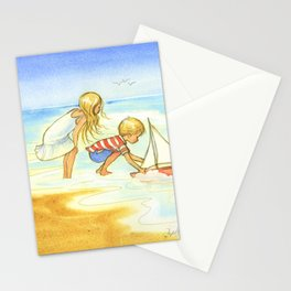 Children playing at the beach - Artwork that re-visits your favorite childhood memories Stationery Cards