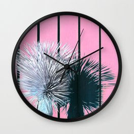 Yucca Plant in Front of Striped Pink Wall Wall Clock