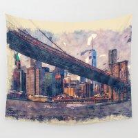 brooklyn bridge Wall Tapestries featuring New York Brooklyn Bridge by Moonlake Designs