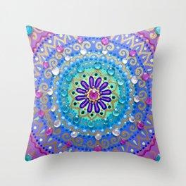 Pretty Glittery Jewelled Mandala Throw Pillow