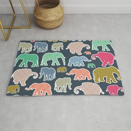 Colorful Elephants, Pattern Of Elephants, Zigzag Rug