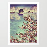sunset Art Prints featuring Watching Kukuyediyo by Kijiermono