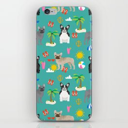 French Bulldog summer beach dog breed gifts frenchies pet portrait tropical palm trees iPhone Skin