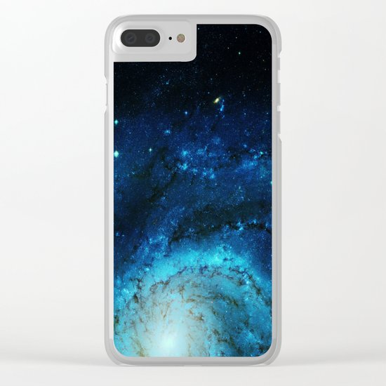 Teal Pinwheel Galaxy Clear iPhone Case
